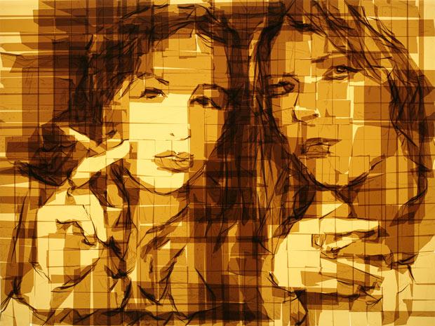 Retratos con cinta de embalar
