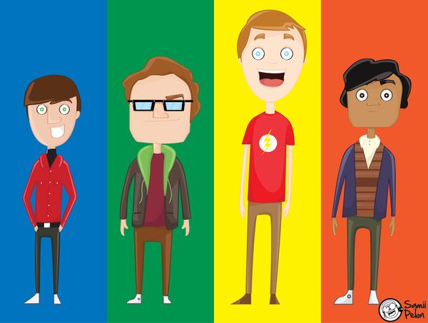 Personajes de Big Bang theory por colores