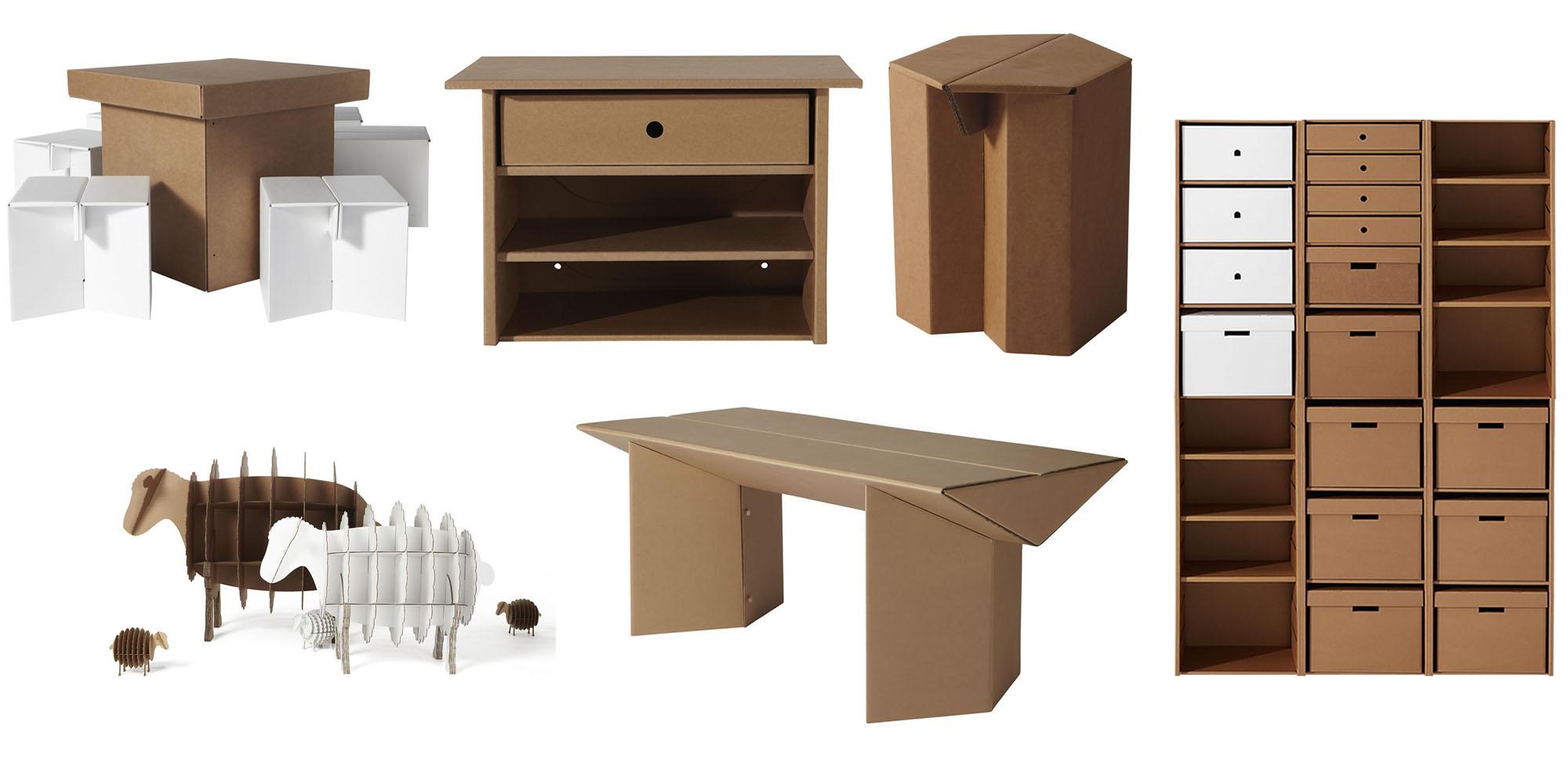 La moda del carton, diferentes muebles fabricados en cartón