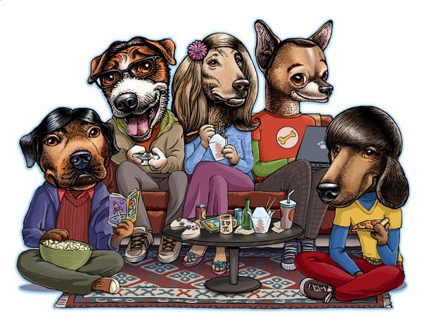 Los personajes de big bang theory representados como perros