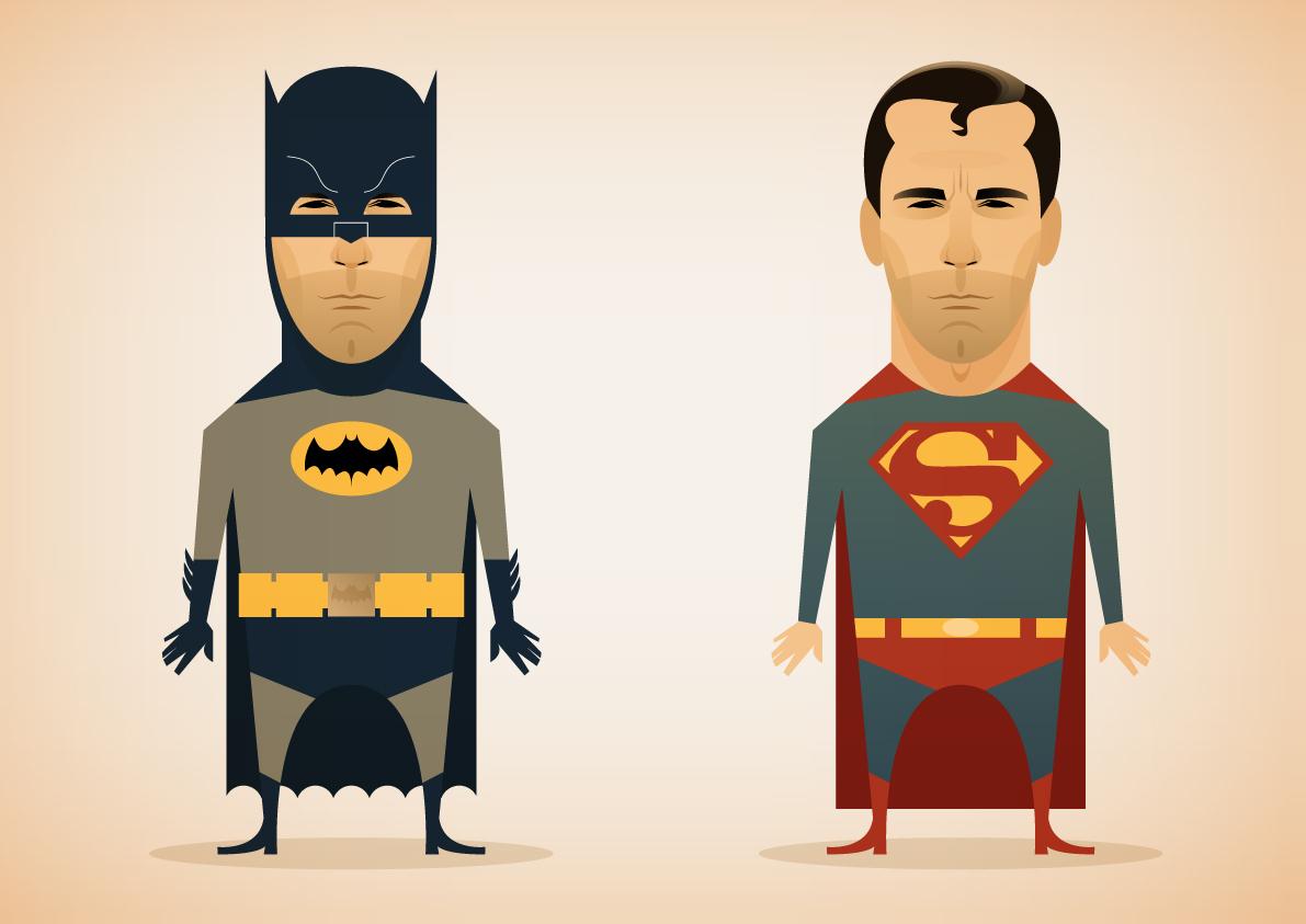 Batman y Superman Ilustraciones de Stanley Chow, un ilustrador de cine