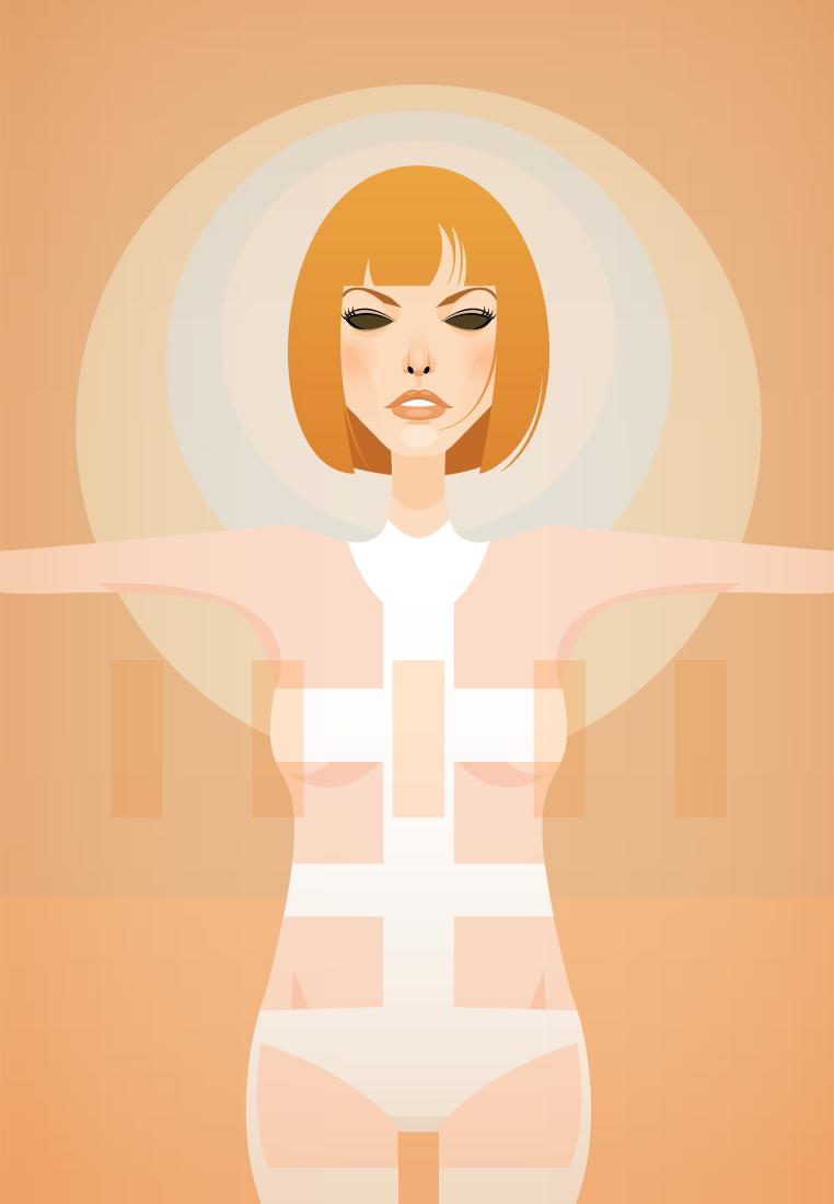 Milla Jovovich Ilustraciones de Stanley Chow, un ilustrador de cine