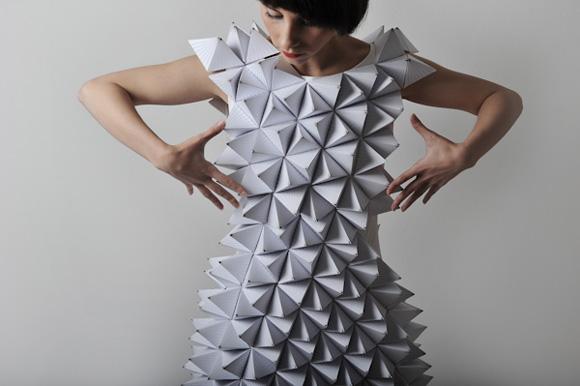 vestidos geométricos de papel