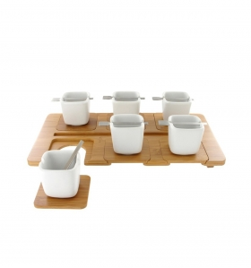 Set de café porcelana y bambú