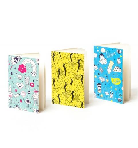 Set de 3 cuadernos estampados