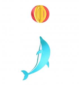 Móvil de papel delfín
