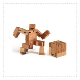 Regalo original, robot de madera rompecabezas Cubebot